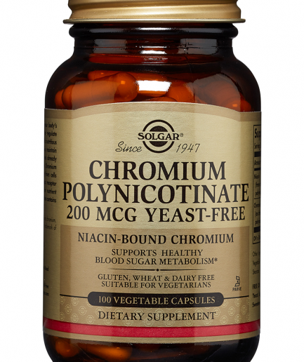Solgar Chromium Polynicotinate 200 mcg (Yeast-Free) 100 Vegetable Capsules